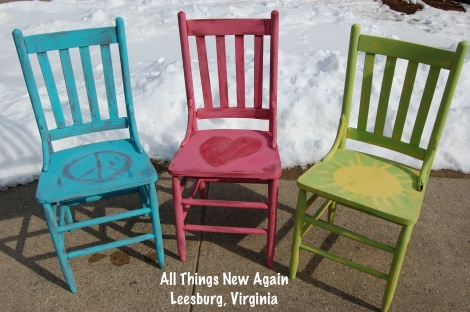 See that pink chair in the middle? It is painted with American Paint Company's Momma's Lipstick so it is also on sale 10% off in May. Heck, if you like all three of these Happy Garden Chairs, we will take 10% off the entire set in May. Regular price of single chair: $20 ~ Regular price of set: $50