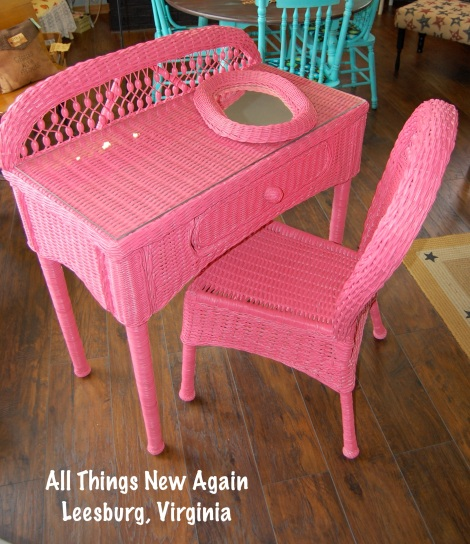 Vintage wicker vanity set (includes desk, chair, mirror and custom-cut glass tabletop) painted in Momma's Lipstick. Regular price: $250--Save 10% in May!