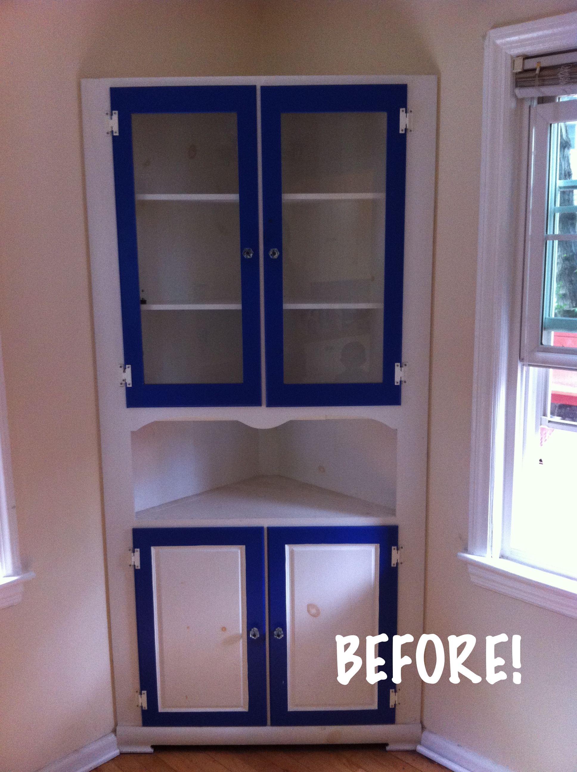 A Nice Paint Makeover For Knotty Built In China Cabinet