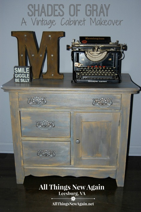 shades of gray_vintage cabinet makeover