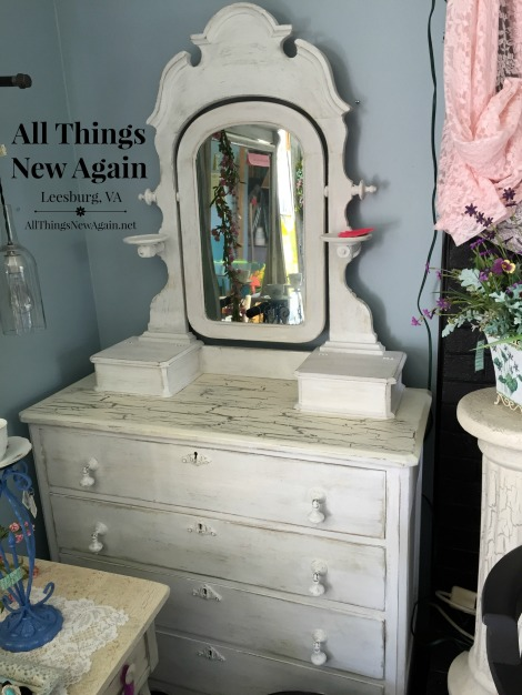 white cottage dresser and mirror