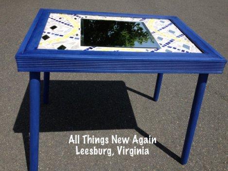 blue mosaic mirror table