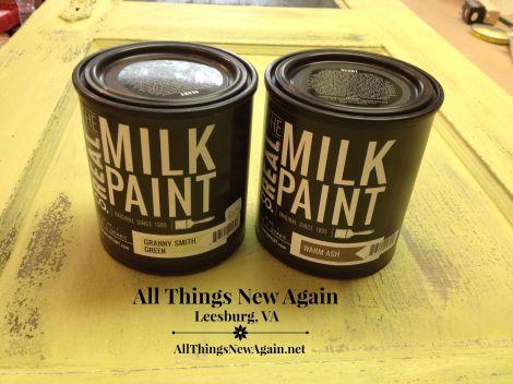 vintage door_real milk paint cans