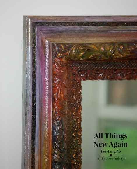 Yard sale mirror up cycled with Unicorn Spit | rainbow gel stain | colorful home decor
