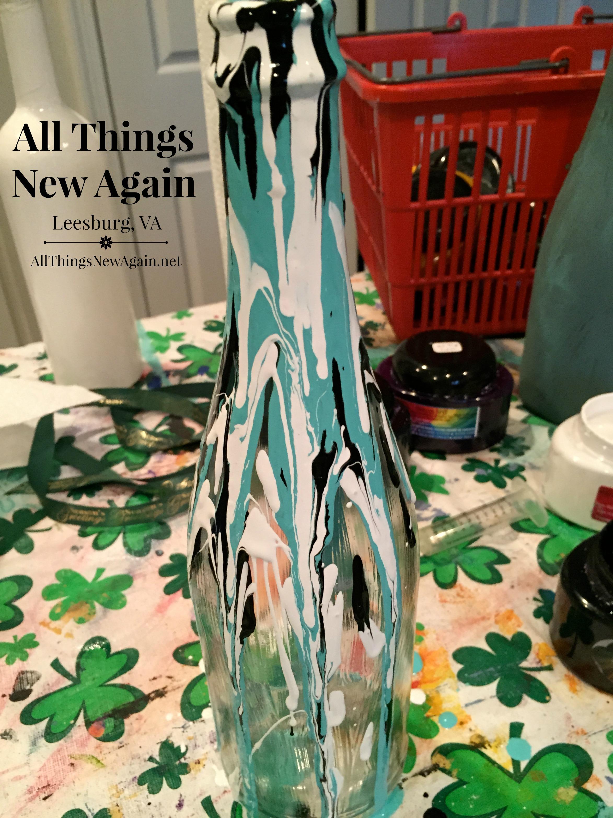 Wine Bottle Art Drip Multi