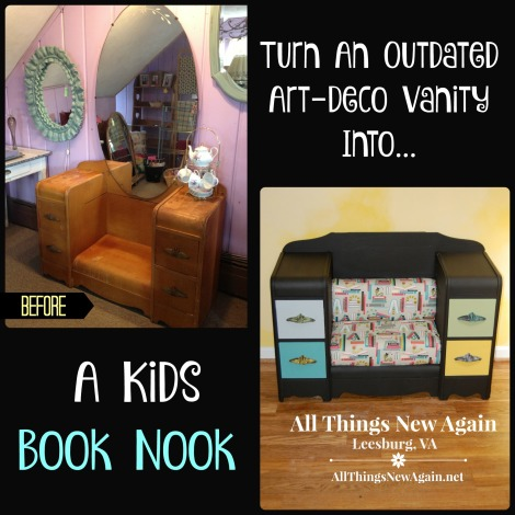 Turn an Outdated Art Deco Vanity into a Kids Book Nook_All Things New Again