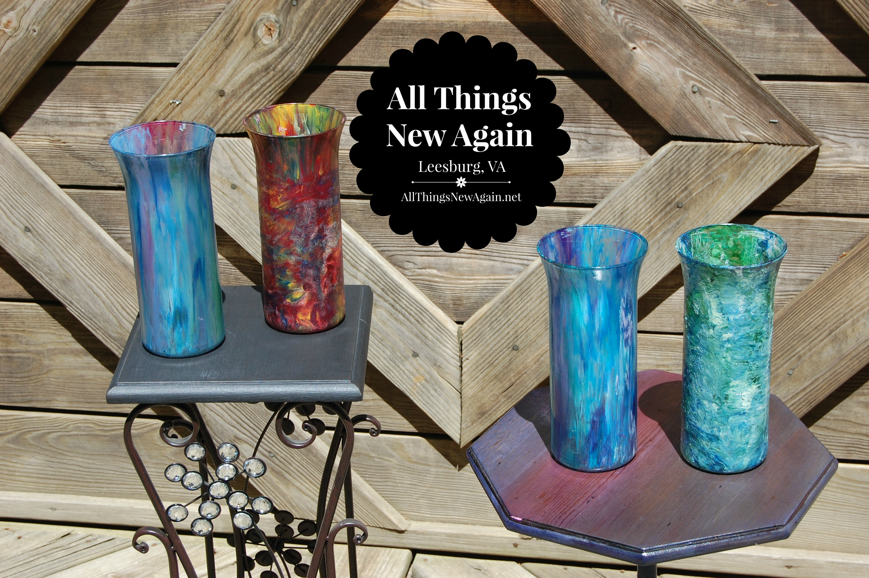 Transform ordinary 1 vases with unicorn spit rainbow gel for What kind of paint do you use to paint glass