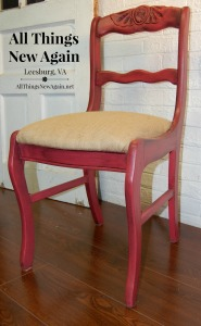 Red Chair w Burlap Seat