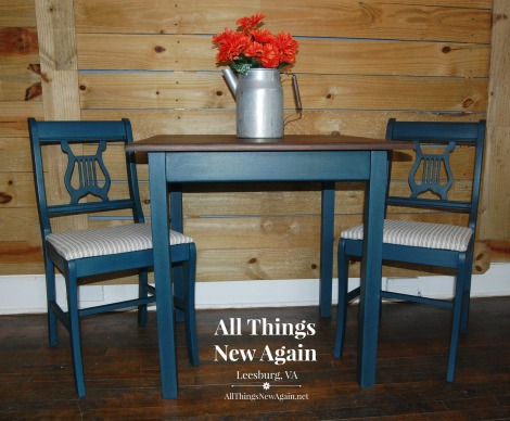 Real Milk Paint Company | Milk Paint | DIY Painted Furniture Projects | Deep Sapphire | Vintage Table and Chairs Painted Blue with Stained Top | All Things New Again