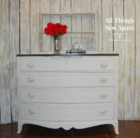 Dixie Belle Paint Company | Chalk and Mineral Paint | Dropcloth | DIY Painted Furniture Makeovers | Vintage Dresser Painted White with Stained Top | Creamy Off-White Painted Furniture | All Things New Again, Leesburg VA