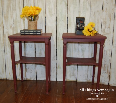 Matching tables painted in Muscadine Wine, one of 13 new colors from Dixie Belle Paint