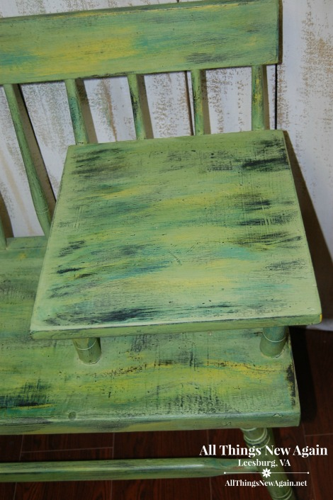 Green Furniture Makeovers | Vintage Gossip Bench | Telephone Table Painted Green