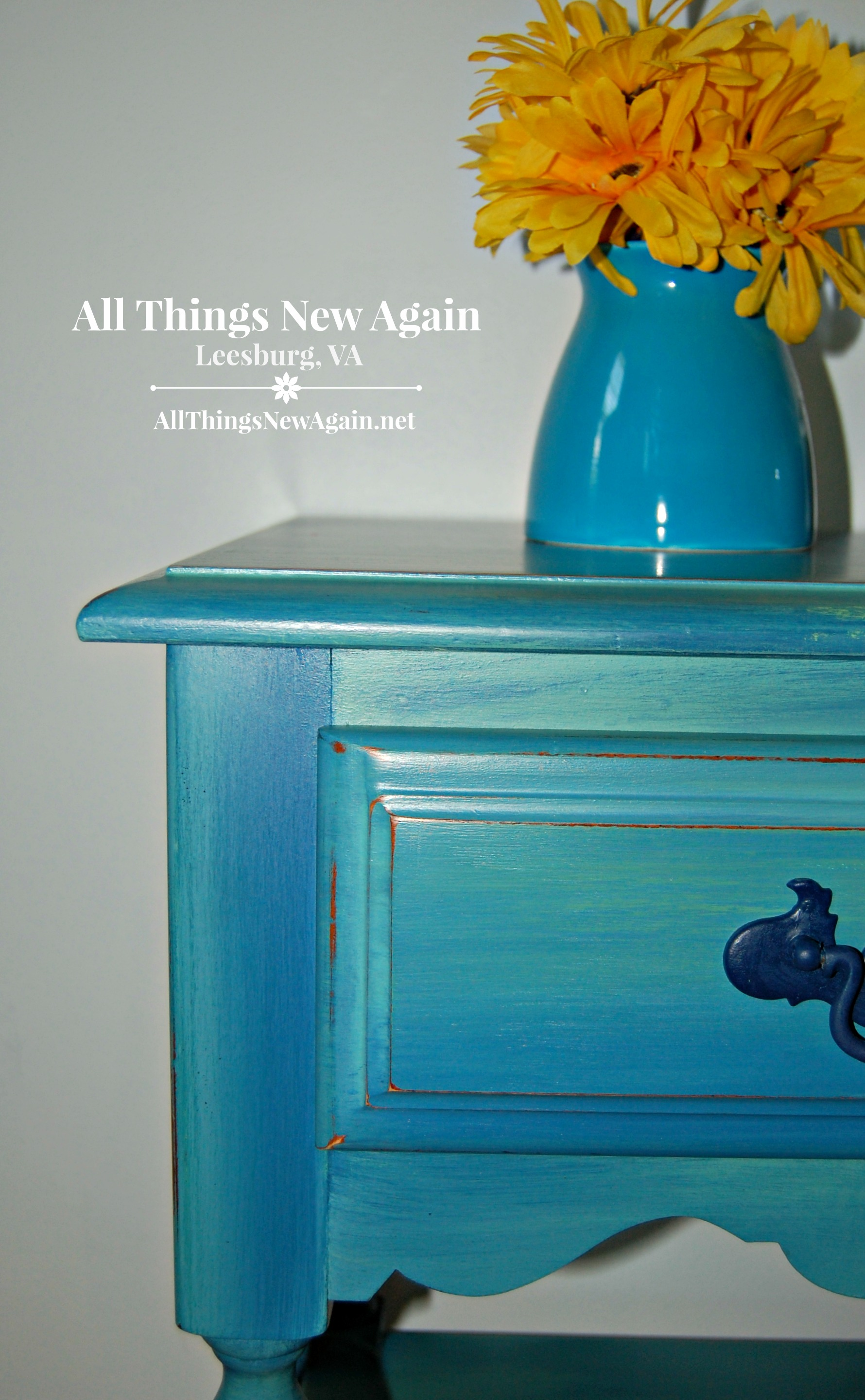painted nightstand dixie belle paint blended paint technique painted furniture blue - Furniture Painter