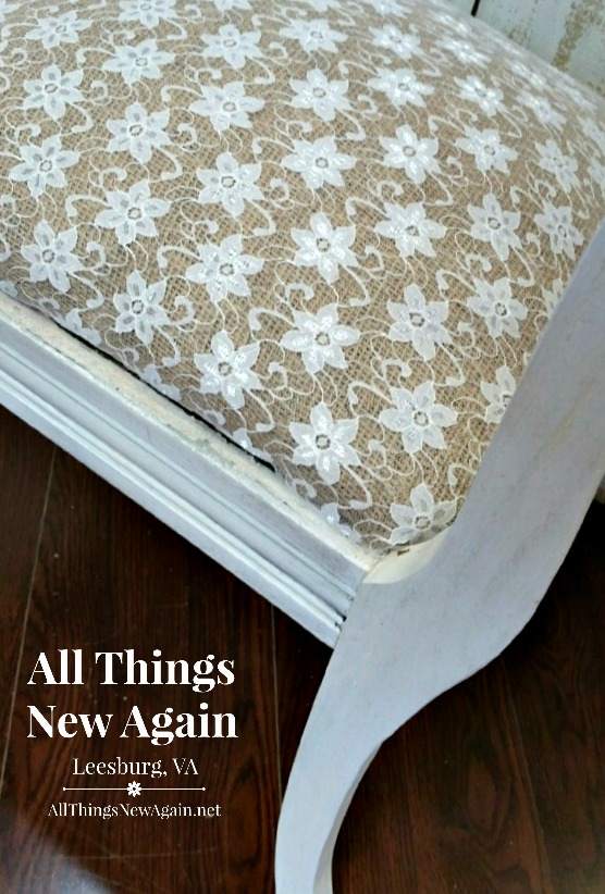 A Burlap And Lace Makeover For A Really Old Bench All